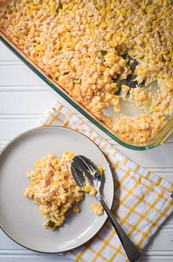 Are you looking for a great side dish for Taco Tuesday or a Summer Potluck or BBQ? Try this AWESOME and frugal Jalapeno Cheddar Creamy Corn Casserole!