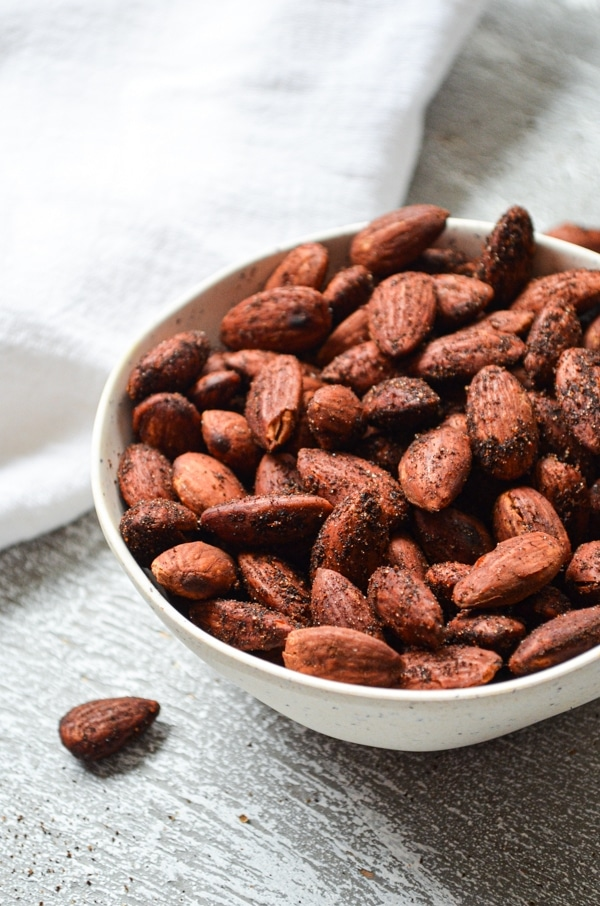 These delicious roasted almonds are the perfect snack! Sugar free, and roasted with butter, Himalayan pink salt, and the perfect combination of seasonings, these simple smoky roasted almonds are full of protein and healthy fats. A little bit of liquid smoke is added for that signature flavor. Great for keeping on hand for when the snackies hit!