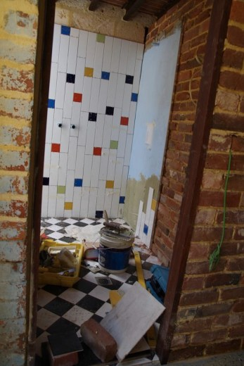 Tiling in the visitor's bathroom