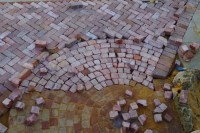 The rest of the driveway meets with the bricks that were laid the previous week