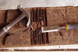 The 'trench' is then created with a chisel and hammer