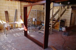 Frame for the bifold doors waiting installation