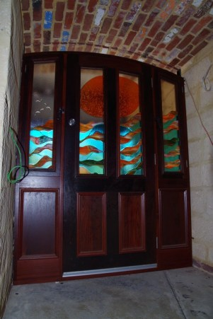 Glass art installed in the front door