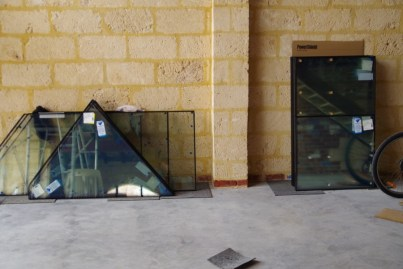 Glass delivered and waiting to be installed