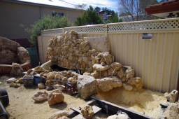 Building the pond and garden wall