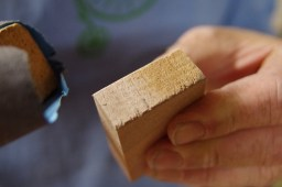 The edges of each piece were sanded to ensure they fit together perfectly