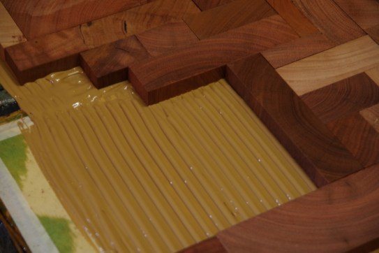The glue used to bond the timber to the floor