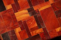 The beeswax lends a golden lustre to the jarrah