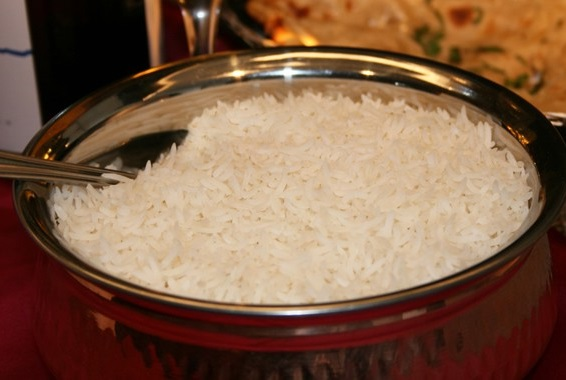 Steamed Indian long grain rice.