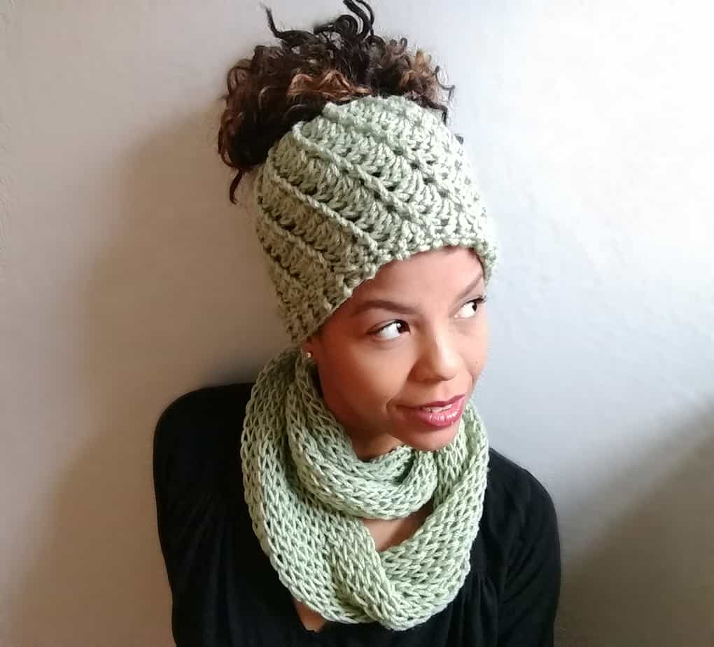 Spiral Messy Bun Hat Pattern Littlejohns Yarn