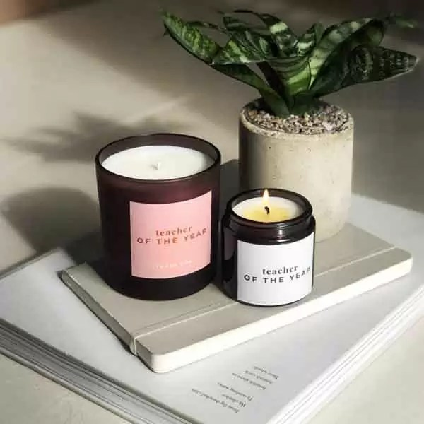 TEACHER OF THE YEAR personalised candle gift. Customise in a range of colours for the perfect teachers gifts