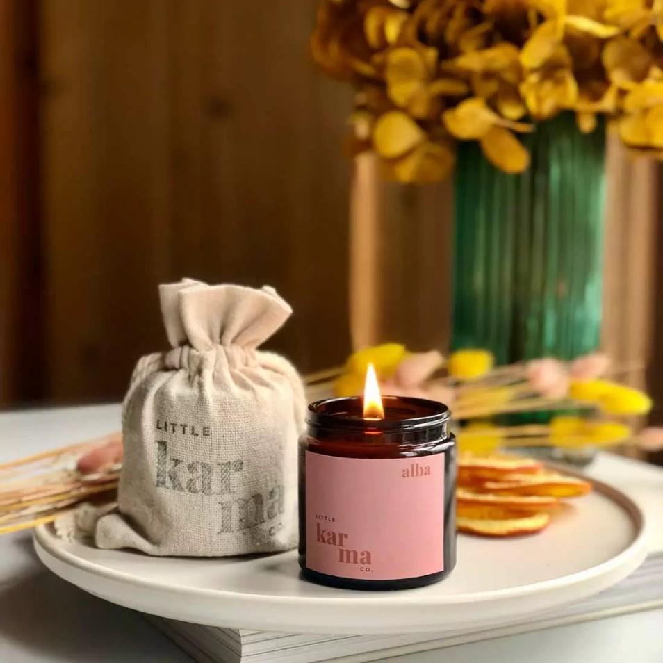alba balancing bergamot and rose geranium mini candle
