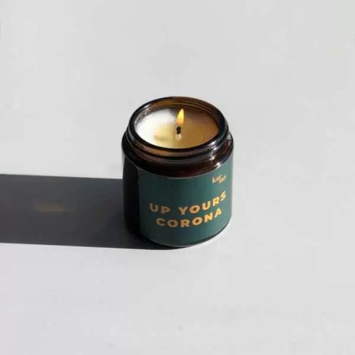 up yours corona mini candle in green