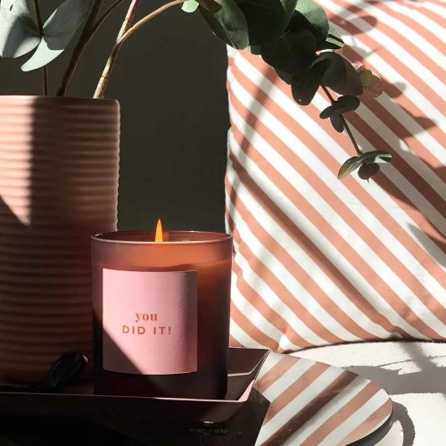 you did it personalised large candle in pink