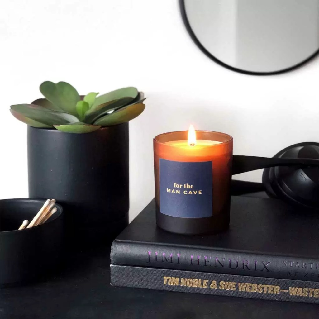 MAN CAVE large refillable personalised scented candle. Father's Day gift for men