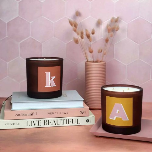 personalised monogram alphabet initial candles in refillable mega size