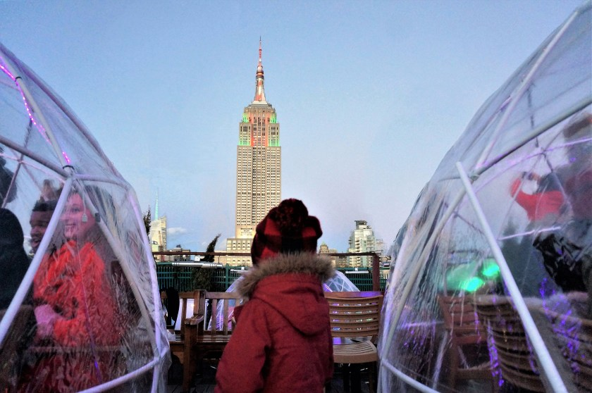 Dusk at the 230 Fifth Igloos