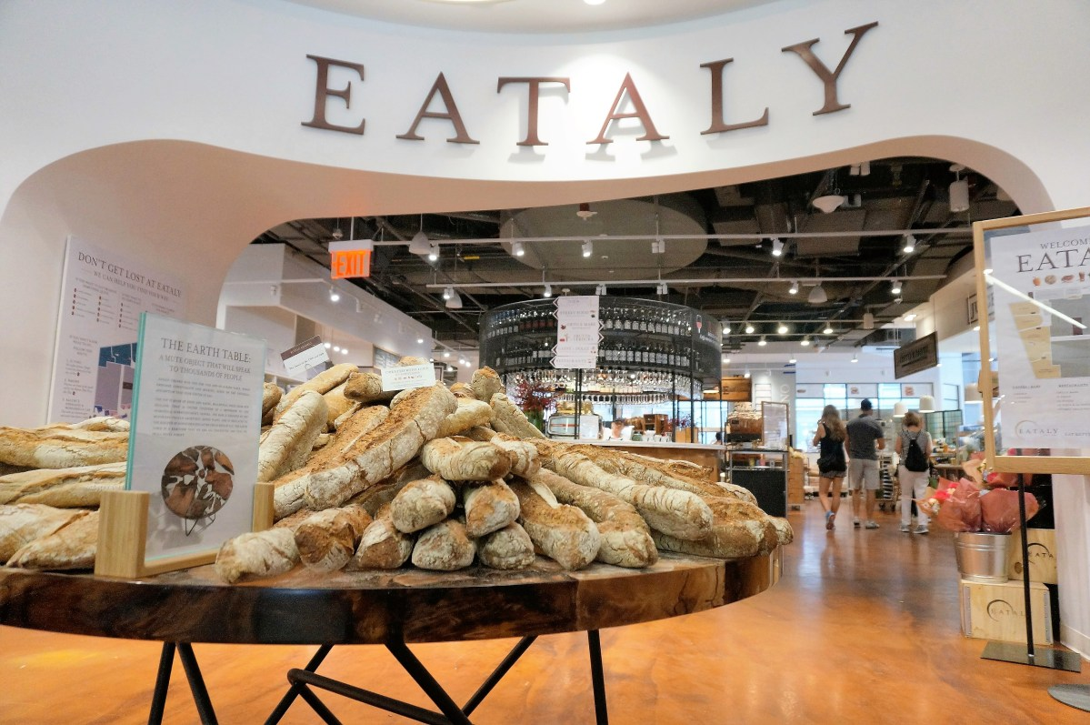 Bread table at the Eataly Fowntown Location