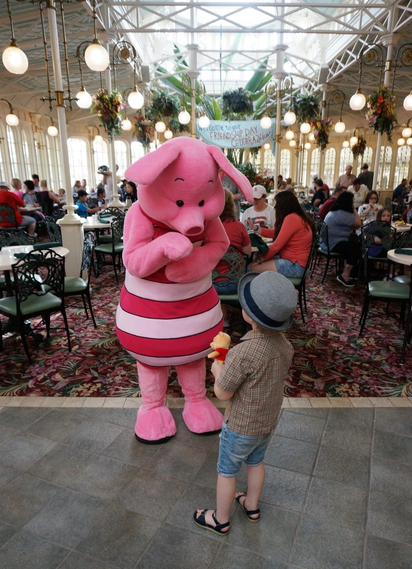 Saying hi to Piglet at the Crystal Palace Character Breakfast