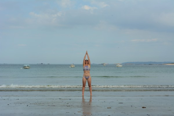 Yoga on the beach in france