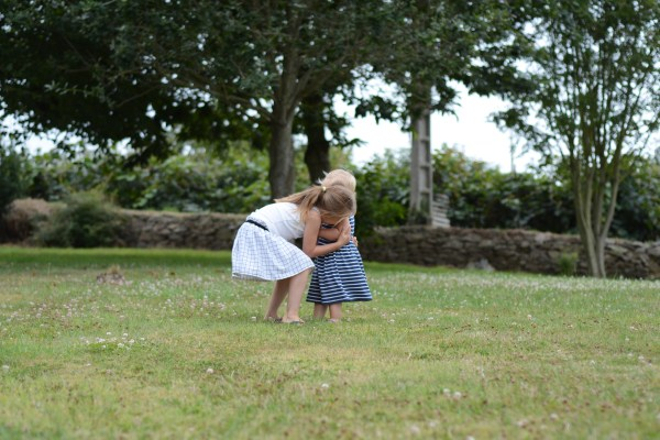France Brittany Roscoff Our French Adventure Week one girls hugging in the garden