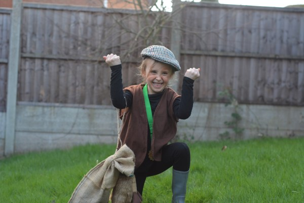 World Book Day Little girl as Danny the champion of the world. Roald Dahl Fancy Dress