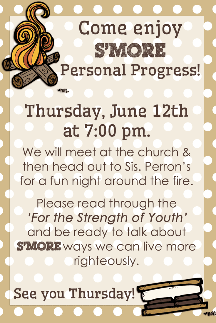 LDS Young Women S'mores Night