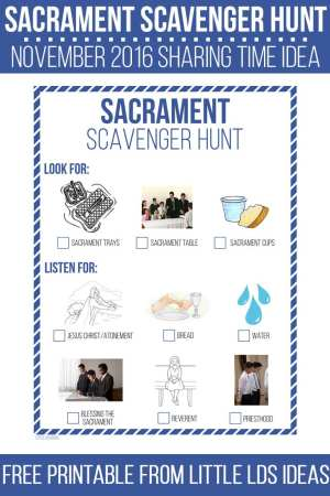Sacrament Scavenger Hunt Sharing Time Idea