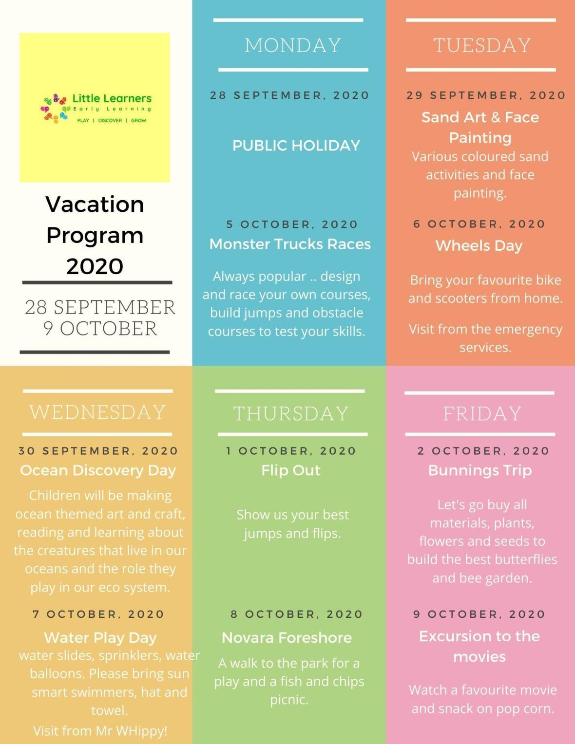 September Vacation Program 2020