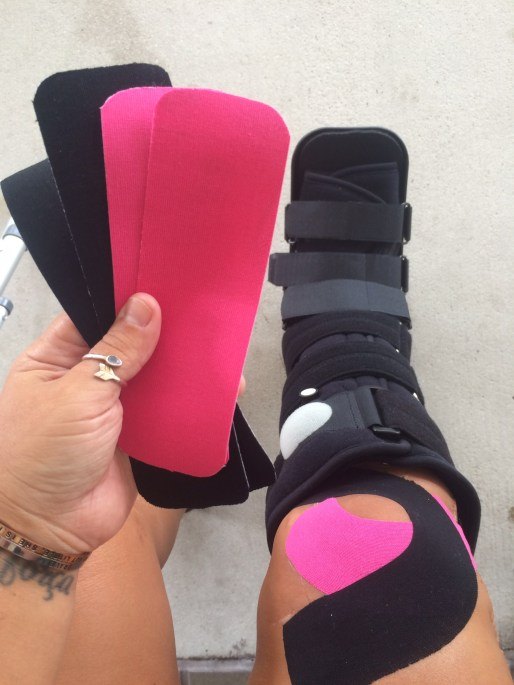 Hello boot and therapeutic art in the form of kinesiotape.