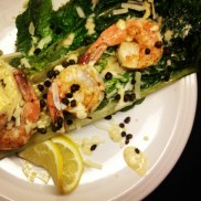 Grilled romaine Ceasar with shrimp and fried capers
