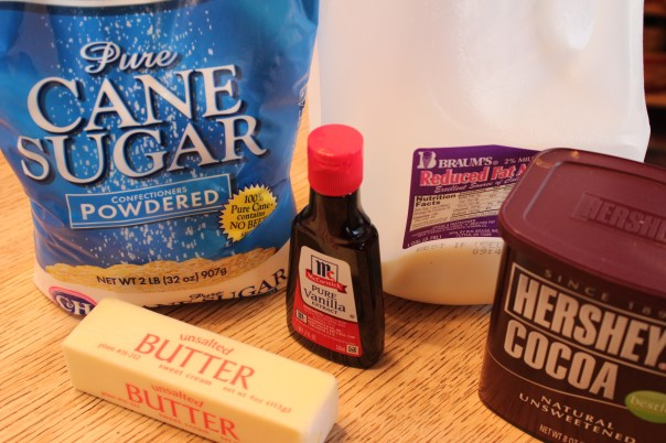 Gluten Free Chocolate Fudge Frosting Ingredients