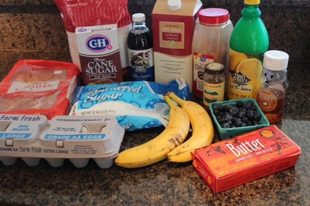 recipe, food, eggs, hawaiian rolls, banana, blueberries, powdered sugar, brown sugar, soy milk, lemon juice, nutmeg, cinnamon