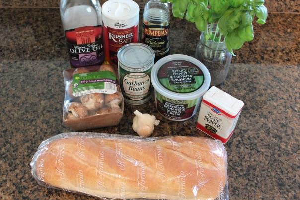 Mushroom Chickpea Bruschetta Ingredients