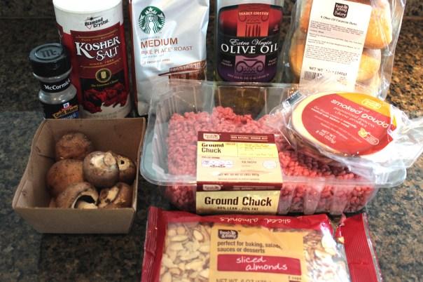 ground beef, almonds, gouda cheese, olive oil, coffee, starbucks coffee, baby bella mushrooms, mushrooms, focaccia bread