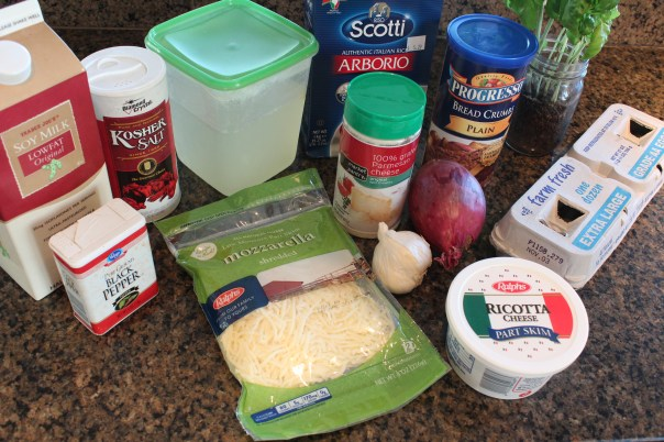 mozzarella, ricotta, basil, risotto, bread crumbs, italian seasoning, eggs, parmesan cheese, ingredients, recipe
