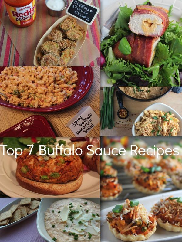 buffalo chicken, spicy buffalo macaroni salad, buffalo chicken burger, buffalo pickle chips, buffalo cheesy penne pasta, buffalo chicken pot pies, recipes, buffalo sauce