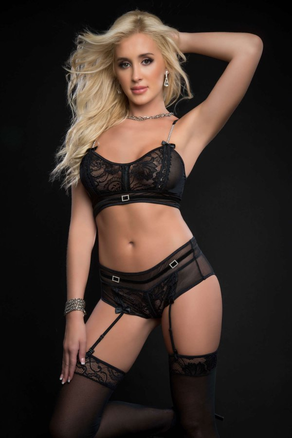 3pc Zippered Bustier Top and Garter Boyshort With  Stockings - One Size - Black