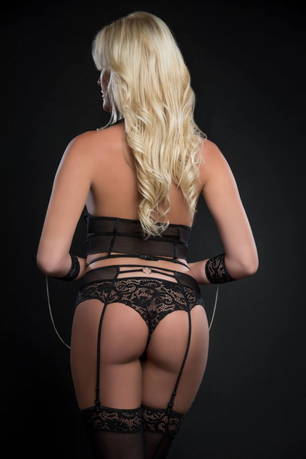 4pc Lace Up Strappy Halter Bustier With Matching  Garter Boyshorts and Stockings- One Size - Black