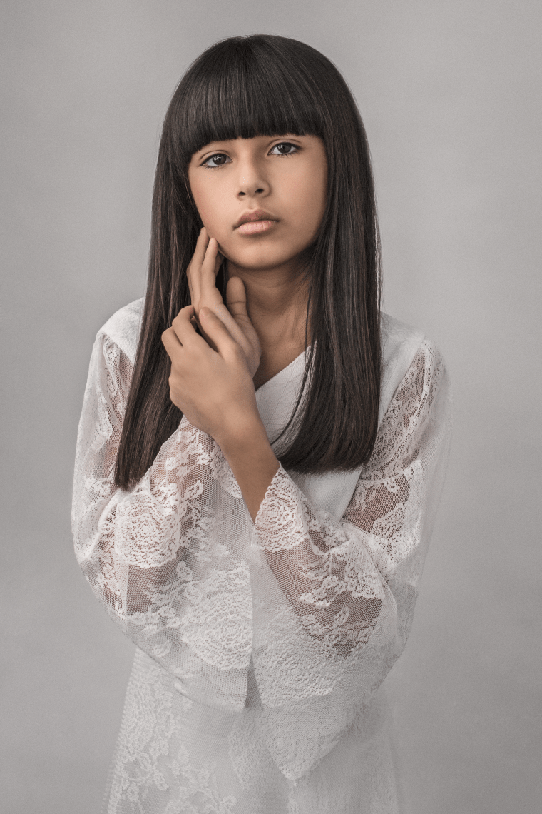Professional studio photo of a young girl