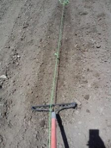 The string is tied for straight rows. I am raking the dirt to smooth it out and get any rocks and dirt clods out.