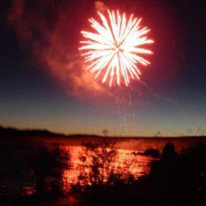 Fireworks on the Mackay Reservoir.
