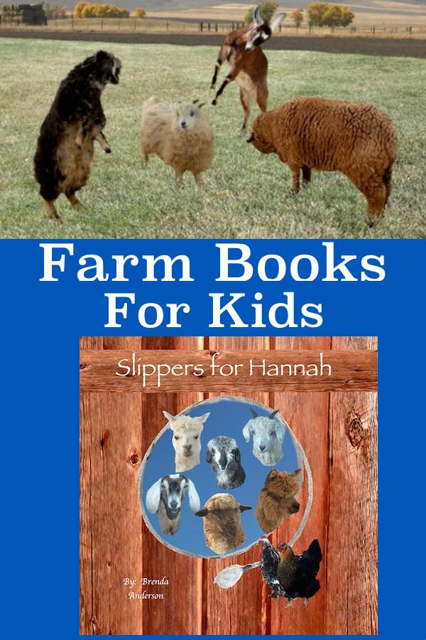Farm books for kids.  Slippers for Hannah book with sheep and goats playing