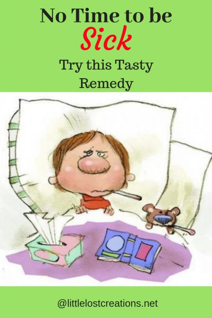 No time to be sick, try this natural remedy, cartoon man sick in bed