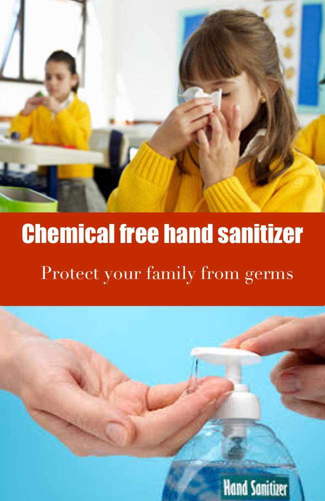 Chemical free hand sanitizer girl blowing her nose and someone getting hand sanitizer