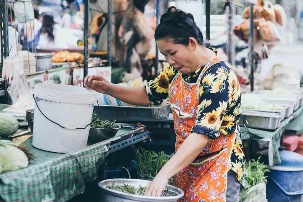 Woman at a street food market