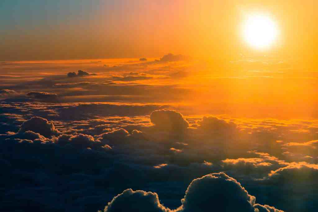 sunshining over clouds