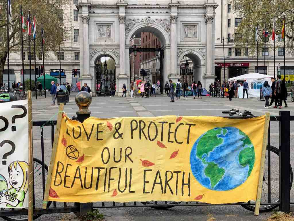 A protest in Marble Arch about climate change to demonstrate Friends of the Earth campaigns in the UK.