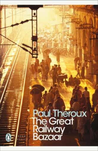 Book cover of The Great Railway Bazaar with figures waiting at a busy train station for top responsible travel books.
