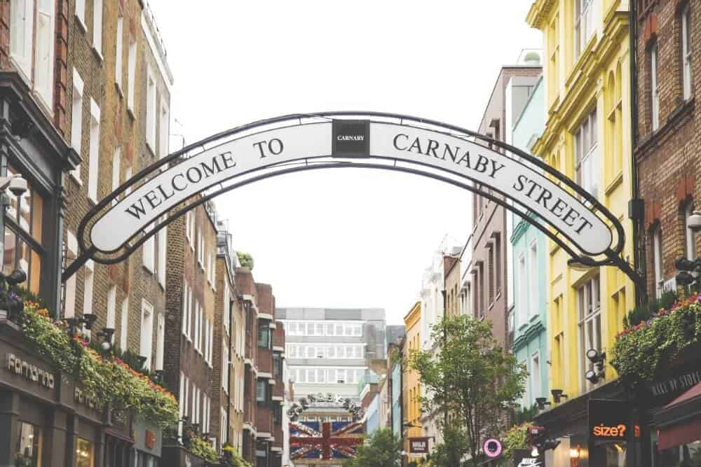 Carnaby Street in Soho is an iconic area for shopping and fashion in London's West End.